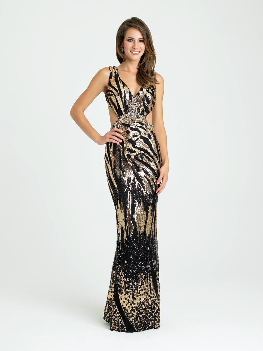 Madison James - 16-349 Dress in Black Gold