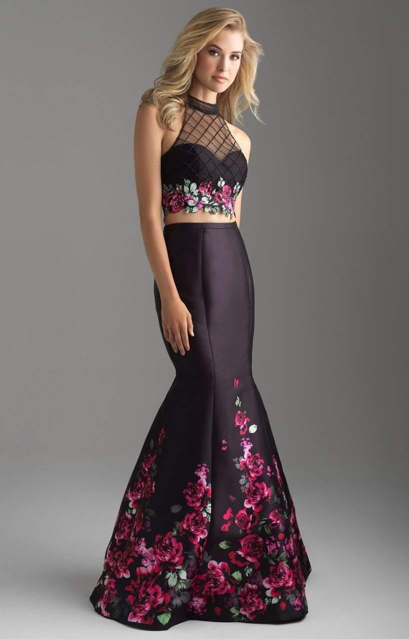 Madison James - 18-602 Illusion High Neck Floral Lattice Mermaid Gown