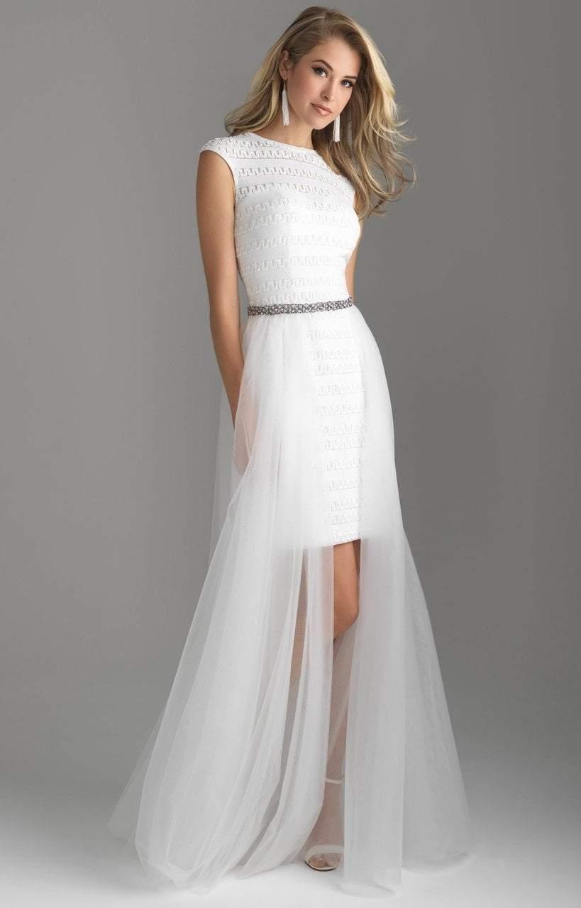 Madison James - 18-616 Cap Sleeve Sequin Ornate Overskirt Gown