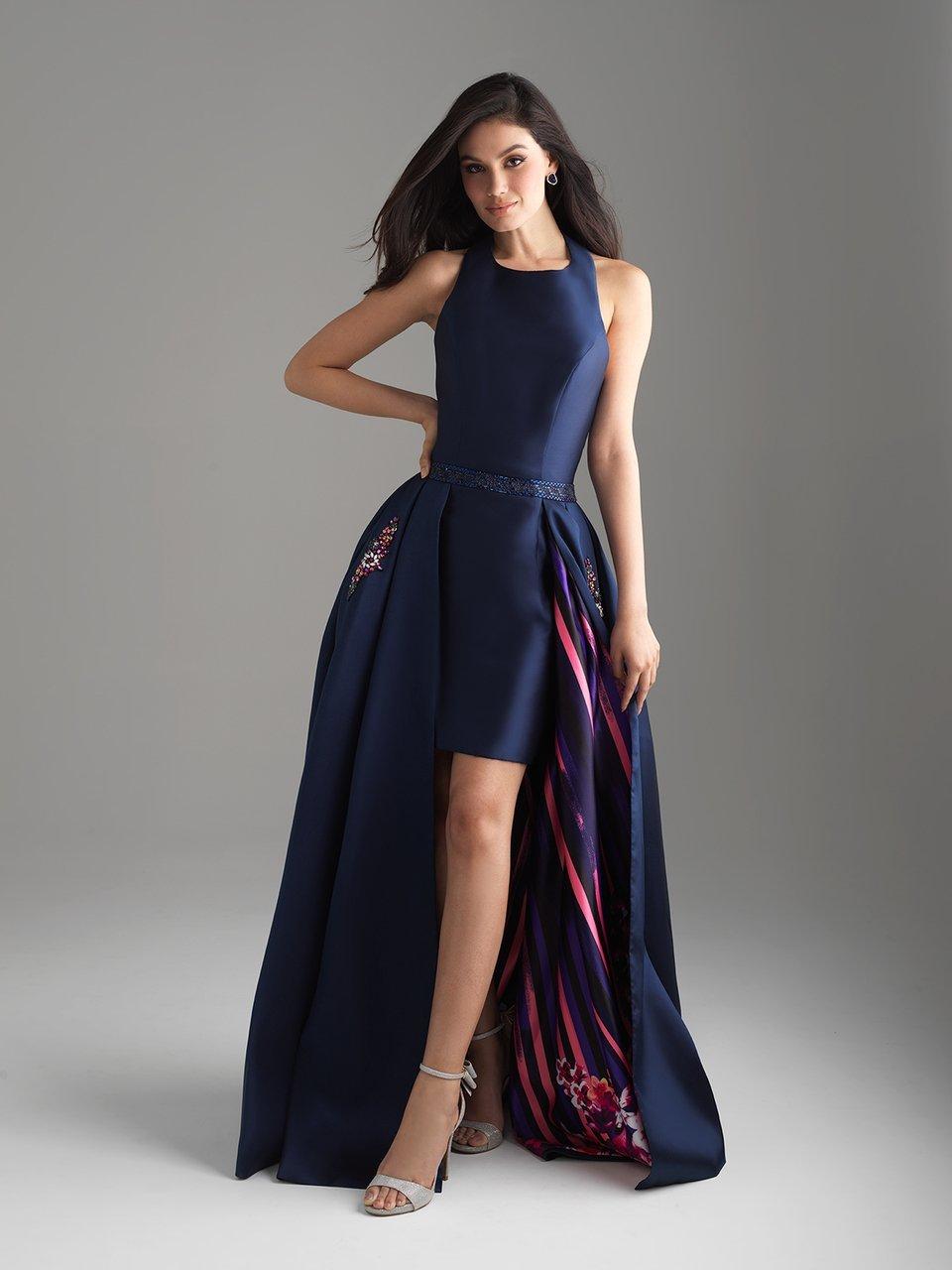 Madison James - 18-620 Halter Neck Mikado High Low Gown