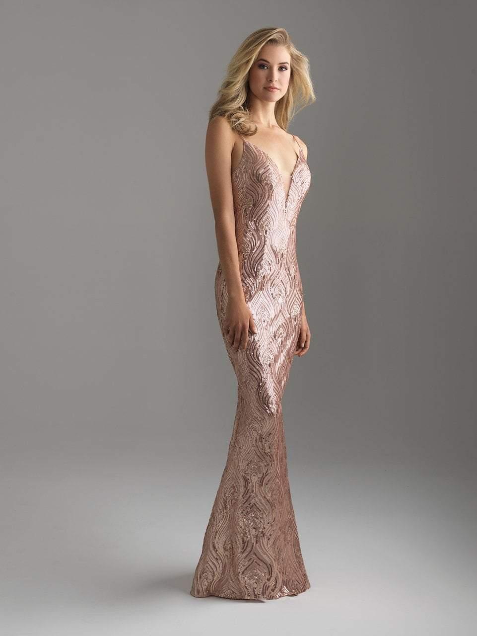 Madison James - 18-624 Deep V-neckline Sequined Sheath Gown
