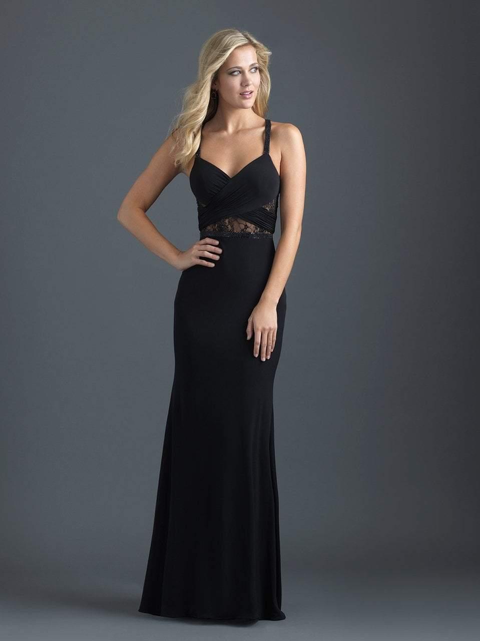 Madison James - 18-629 Crisscross Fitted Jersey Evening Dress