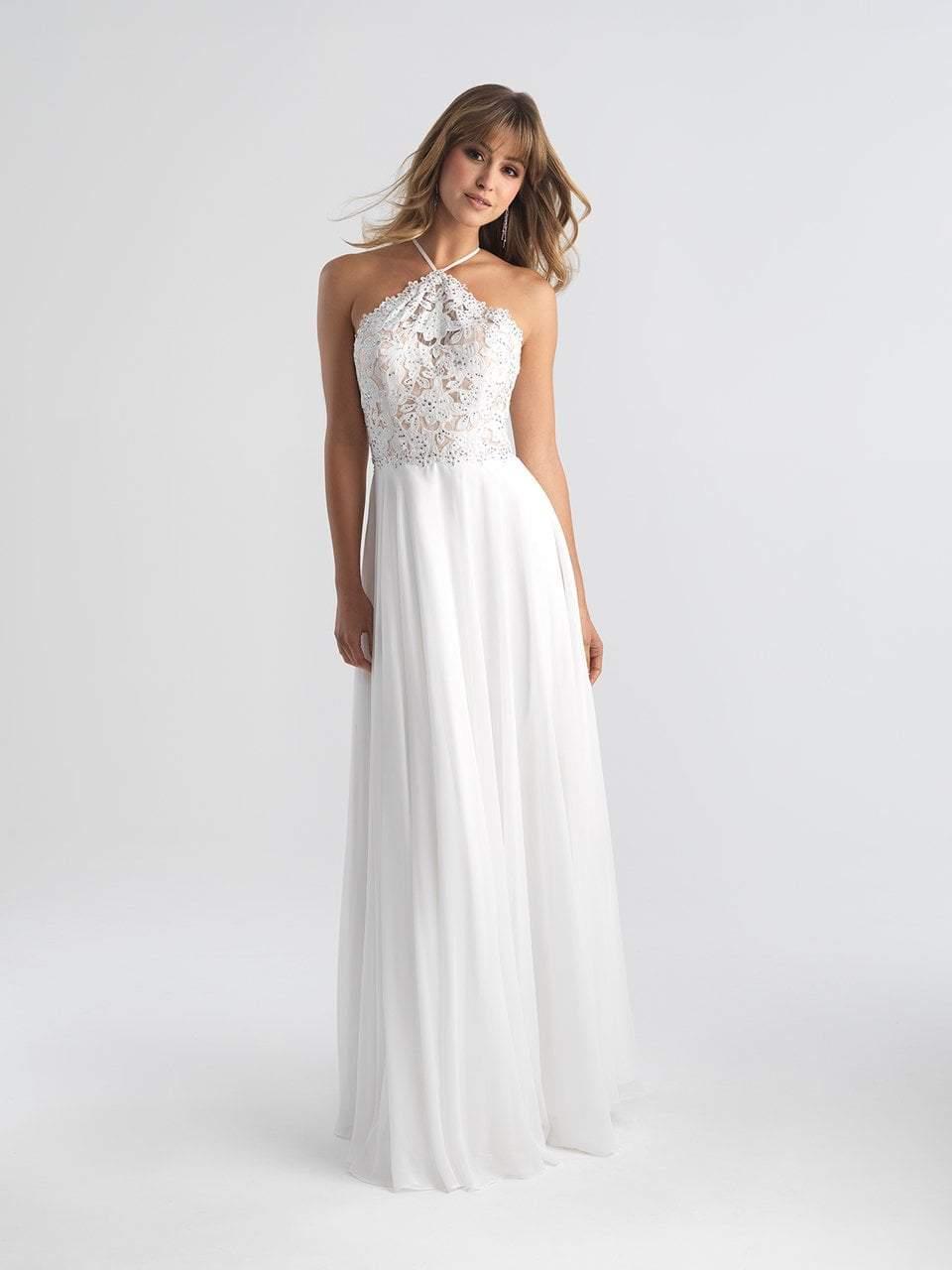 Madison James - 18-653 Floral Appliqued Halter Evening Dress