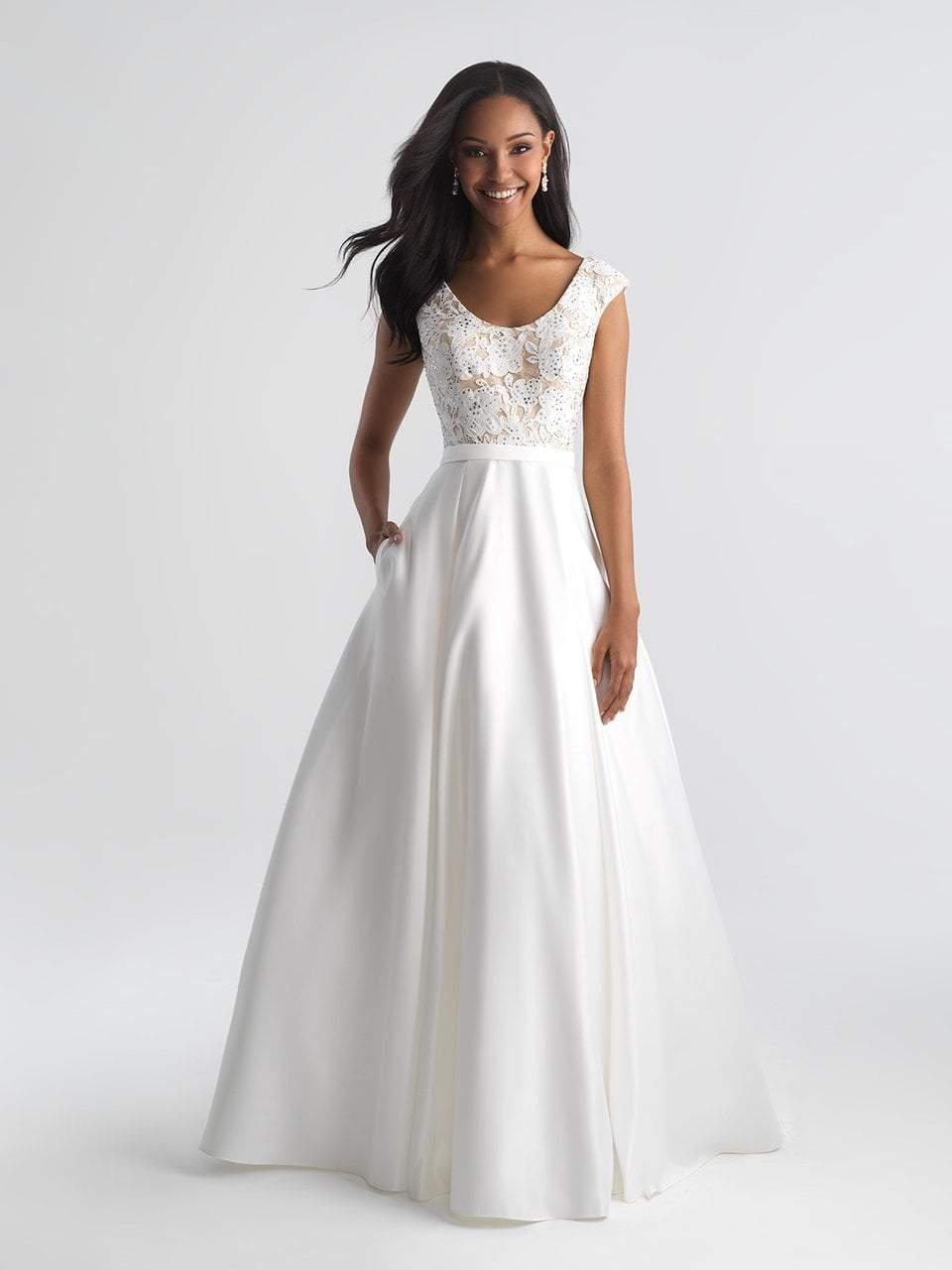 Madison James - 18-654 Beaded Floral Appliqued A-Line Dress