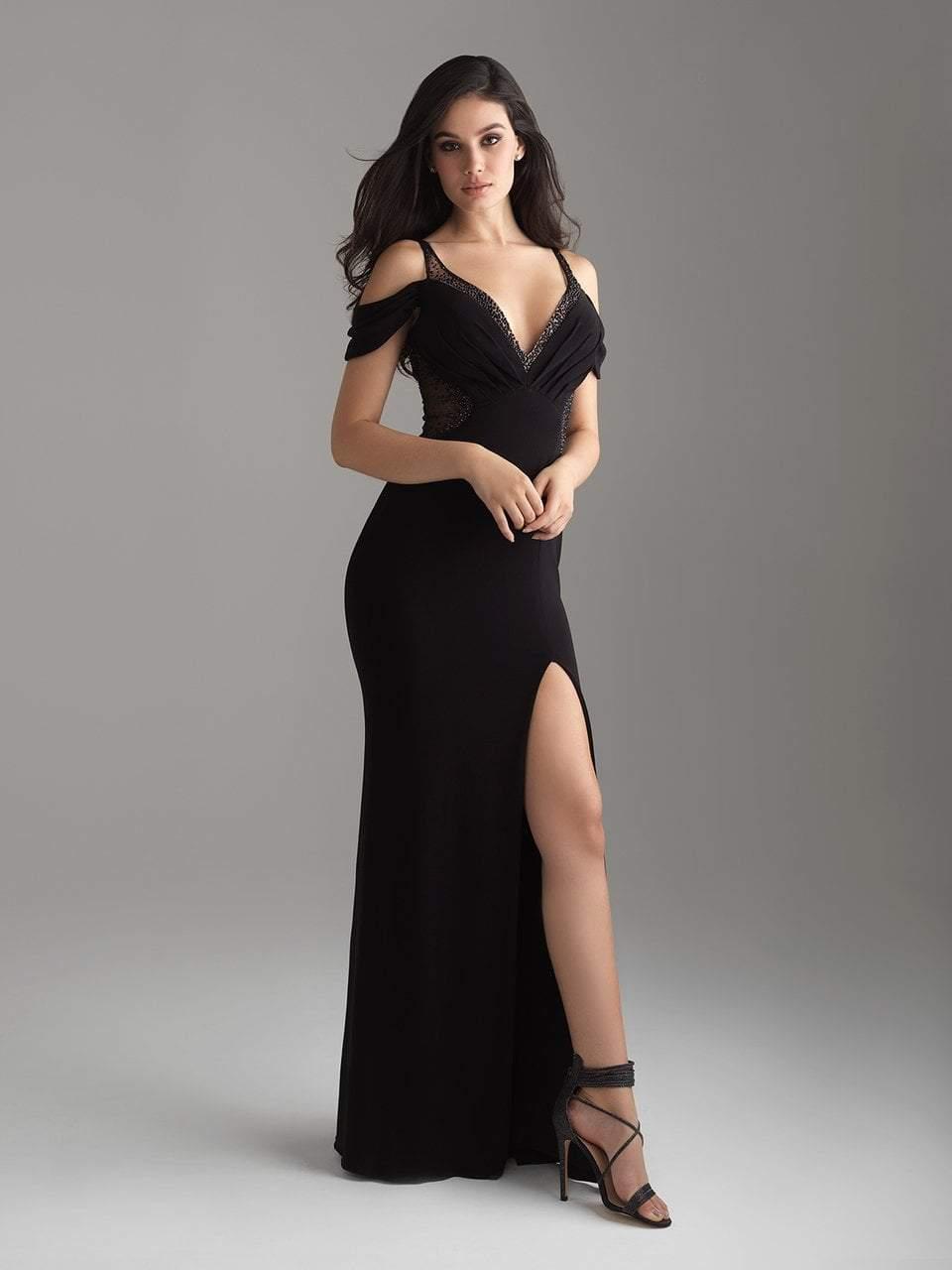 Madison James - 18-656 Beaded Cold Shoulder Slit Dress