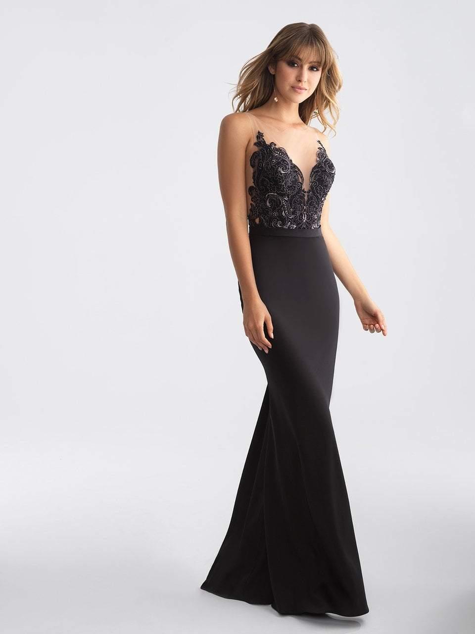 Madison James - 18-663 Lace Illusion Bateau Sheath Dress