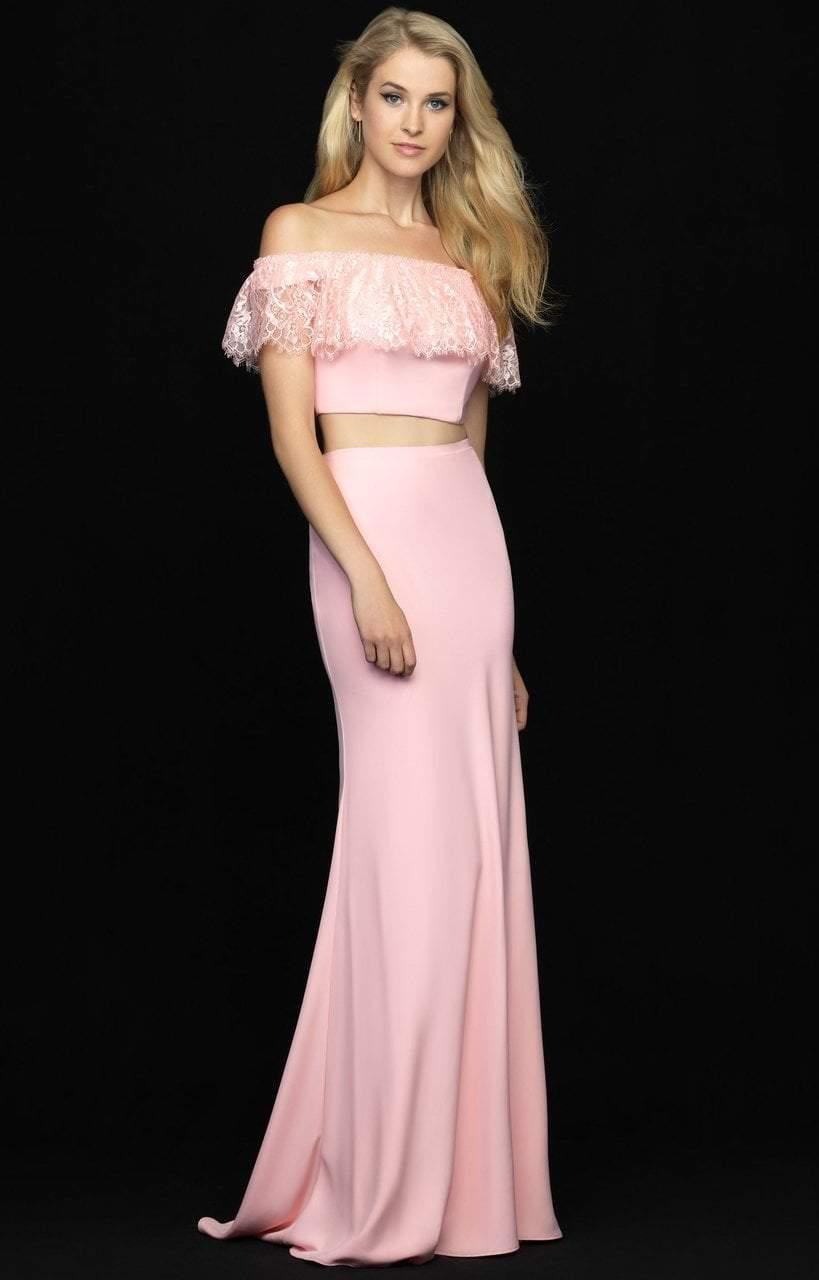 Madison James - 18-667 Pretty Two Piece Off Shoulder Sheath Dress