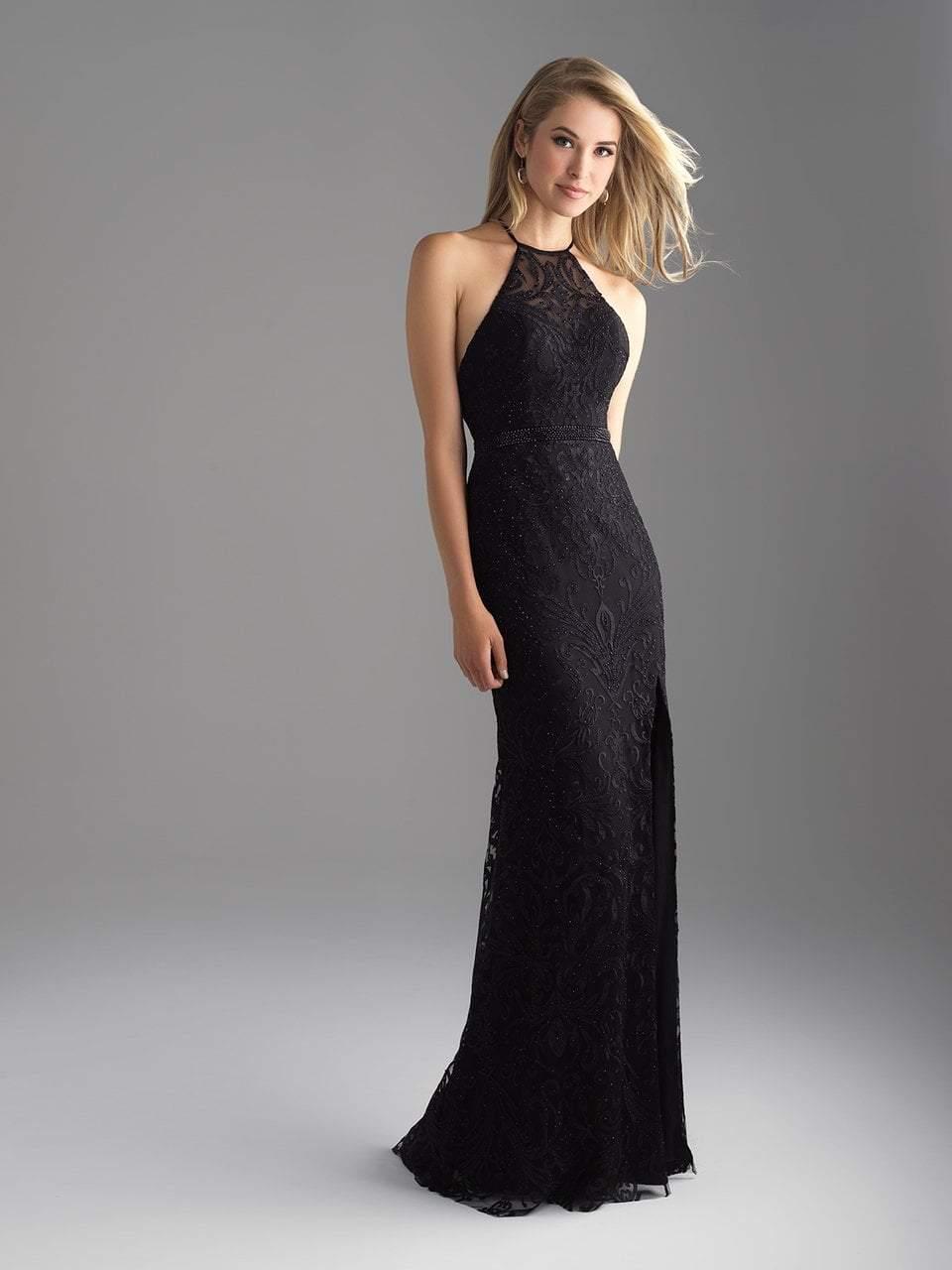 Madison James - 18-687 Embroidered Halter Sheath Dress