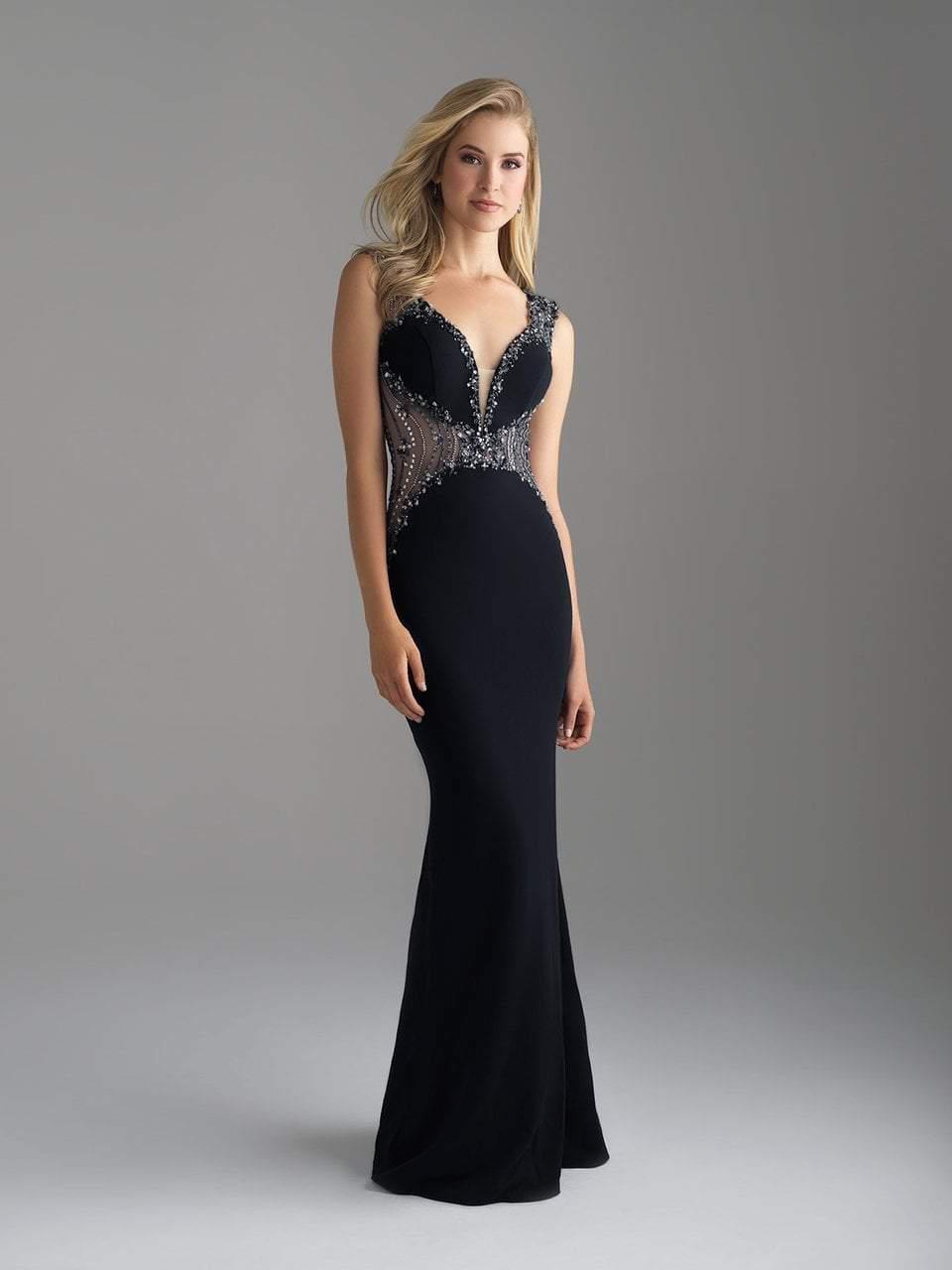 Madison James - 18-696 Embellished Deep V-neck Sheath Dress