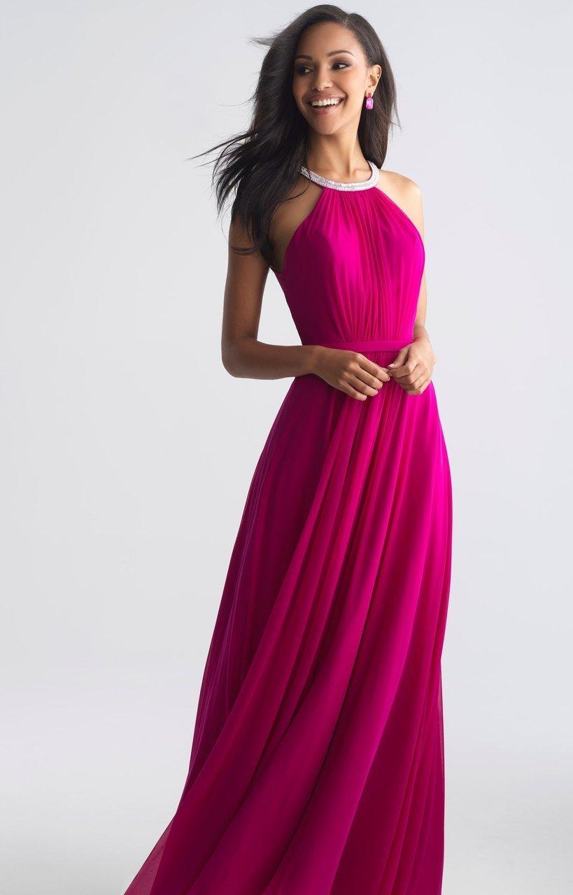 Madison James - 18-724 Halter Style Drape Chiffon A Line Dress