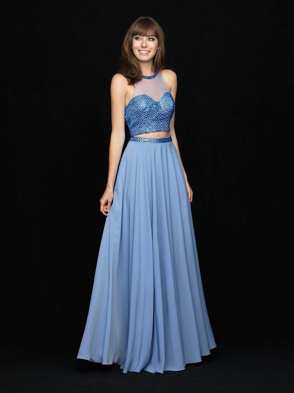 Madison James - 18-732 Two Piece Embellished High Halter Chiffon Dress