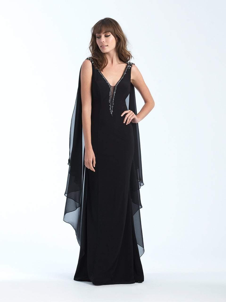 Madison James - 18-741 Jeweled Deep V-neck Chiffon Sheath Dress