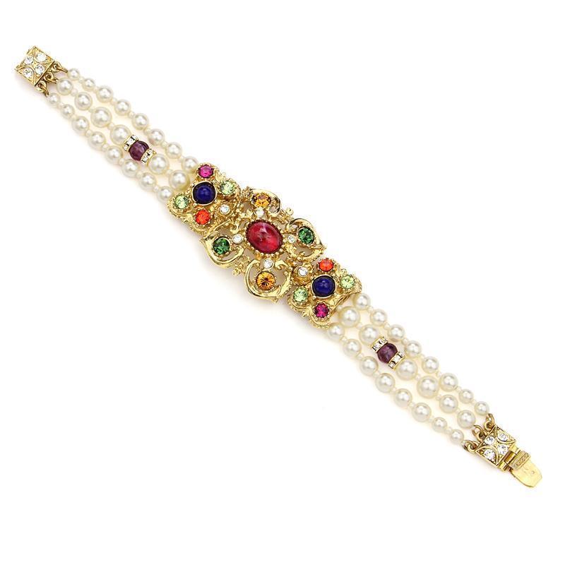 Ben-Amun - Victoria Multicolor Crystal Pearl Bracelet