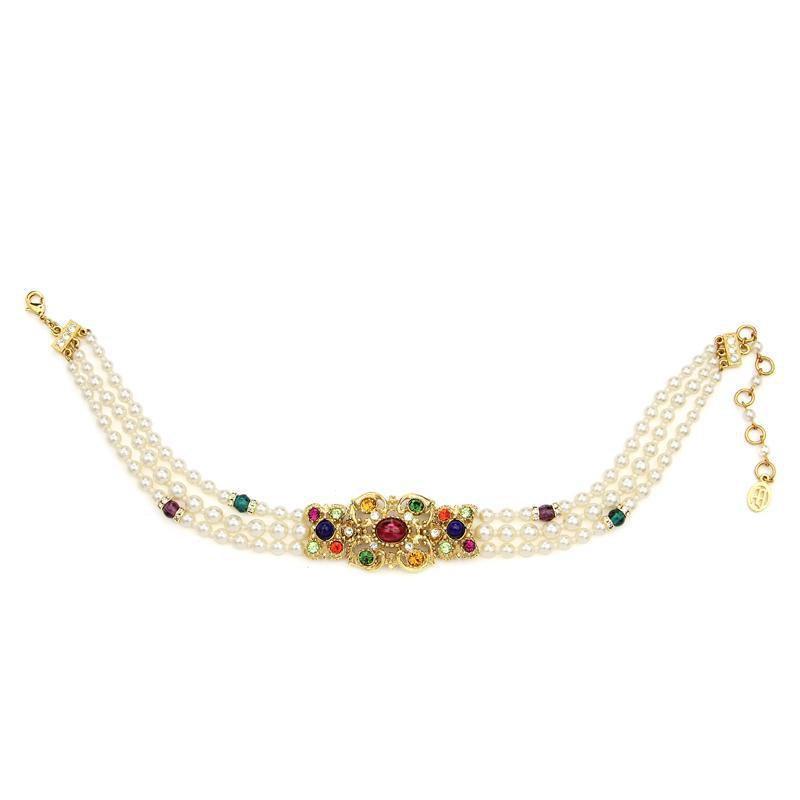 Ben-Amun - Victoria Multicolor Crystal Pearl Choker Necklace