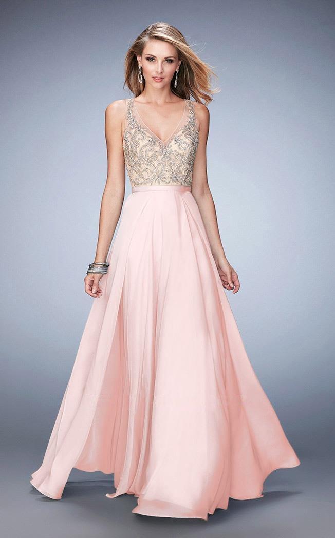La Femme - 22517 Chiffon V-neck A-line Dress