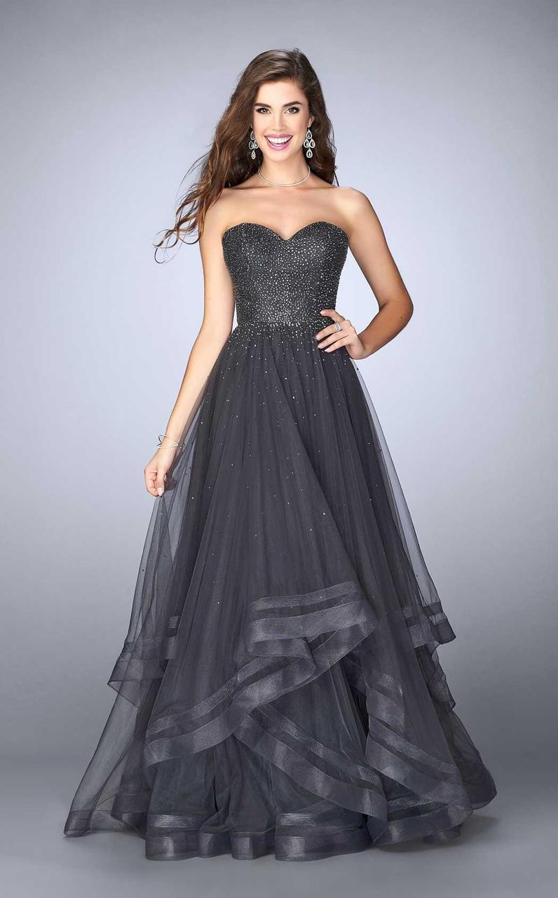 La Femme - 24517 Shimmering Strapless Sweetheart Tulle Prom Dress