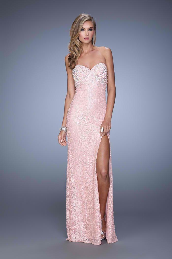 La Femme - 20705 Crystal Embellished Sweetheart Slit Gown\