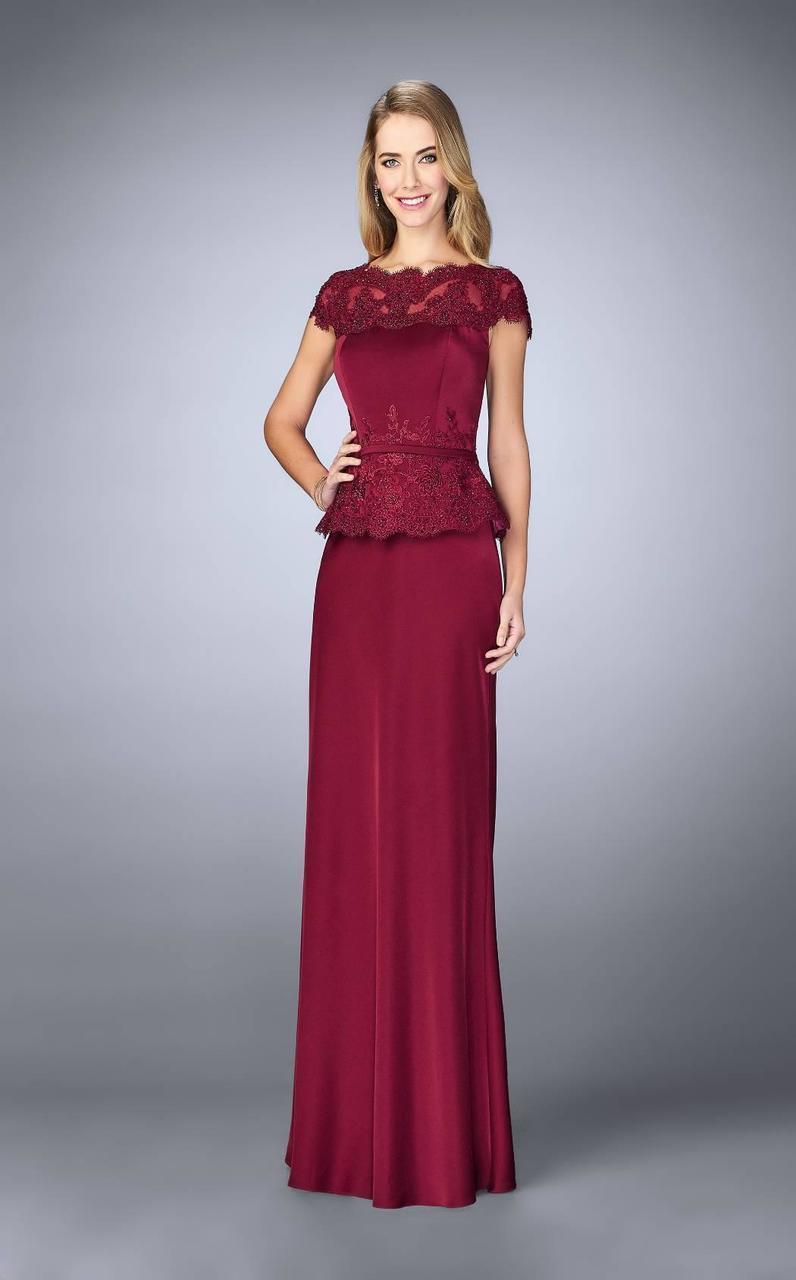 La Femme - 23444 Festooned Peplum Evening Gown