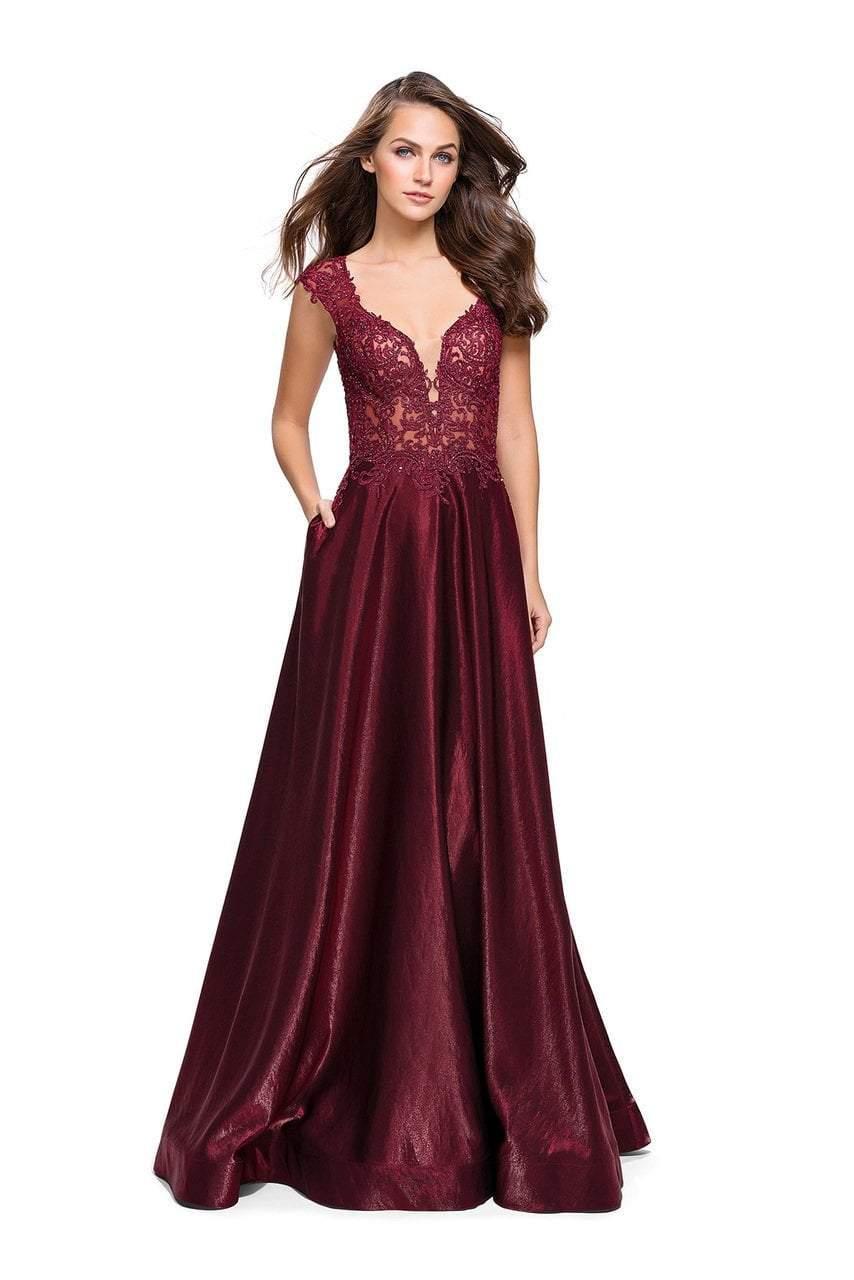 La Femme - 25973 Lace Cap Sleeves Satin A-line Gown