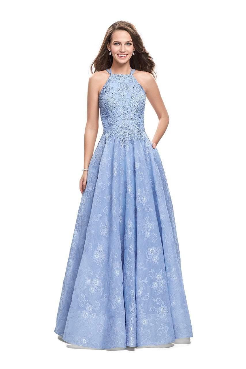 La Femme - 26337 Halter Neck Lace Ballgown